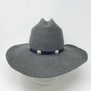 Vtg Eddy Bros Felted Wool Western Hat Gray Sz 7